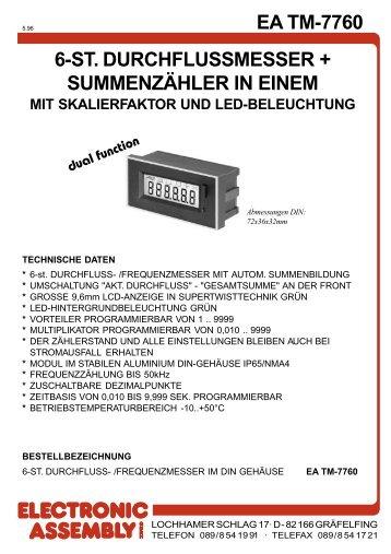 EA TM-7760 6-ST. DURCHFLUSSMESSER + ... - LCD elementy