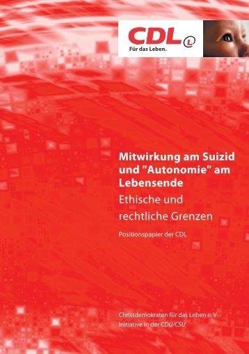 """Mitwirkung am Suizid und """"Autonomie"""" am Lebensende ... - CdL"""