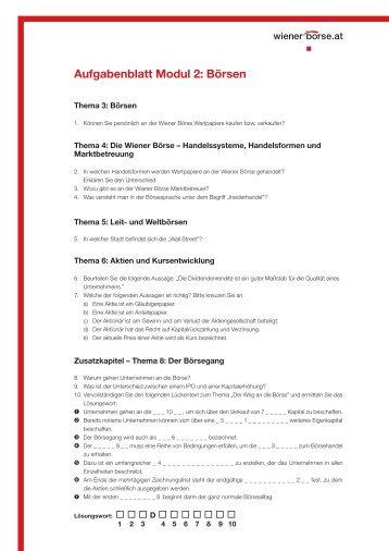 Aufgabenblatt Modul 2: Börsen - Wiener Börse