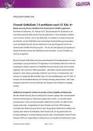 Firewall GeNUGate 7.0 zertifiziert nach CC EAL 4+ - GeNUA