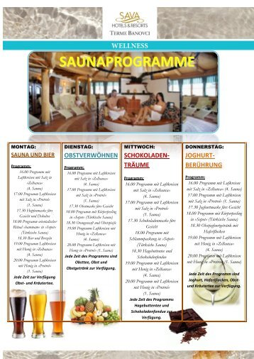 SAUNAPROGRAMME - Sava Hotels & Resorts