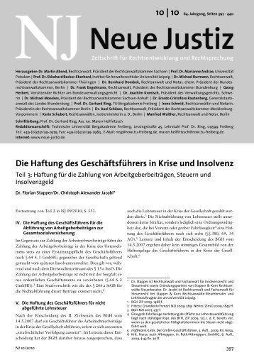 Die Haftung des Geschäftsführers in Krise und Insolvenz - Neue Justiz