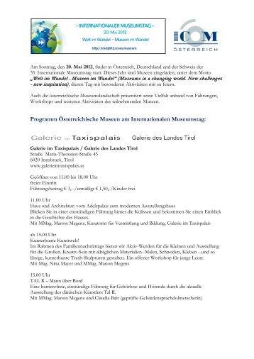 Programm Österreichische Museen am ... - ICOM Österreich
