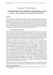 Vom Wörterbuch zum lexikalischen Informationssystem