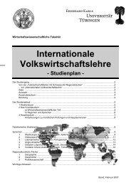 Studienplan IVWL - Universität Tübingen