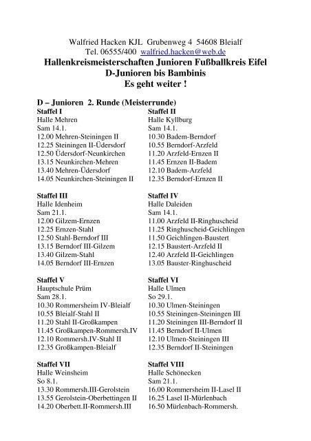 HKM Junioren 2012 D-Junioren bis Bambinis