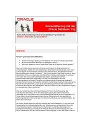 Konsolidierung mit der Oracle Database 11g - Oracle online seminars