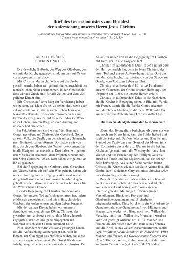 Brief des Generalministers zum Hochfest der Auferstehung ... - OFM