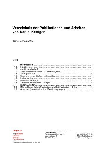 Verzeichnis der Publikationen und Arbeiten von Daniel Kettiger