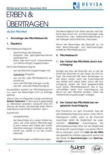 REVISA-Serie Erben & Übertragen Teil (5)