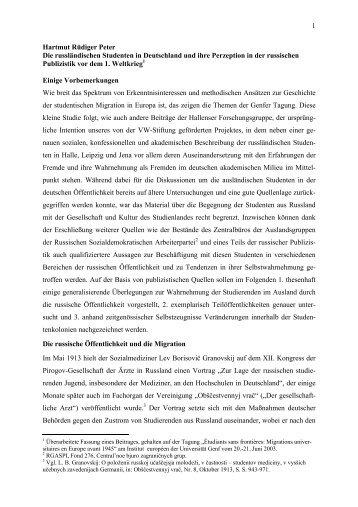 Die russländischen Studenten in Deutschland und ihre Perzeption ...