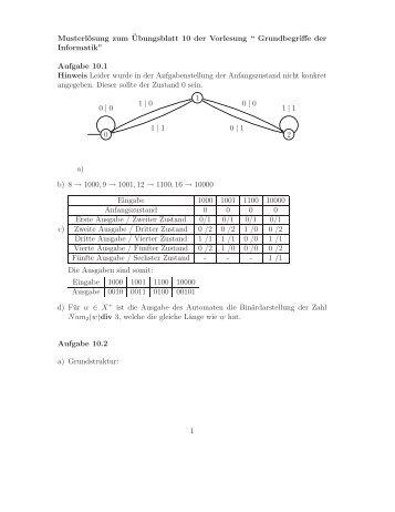 Lösungen 10 - Grundbegriffe der Informatik