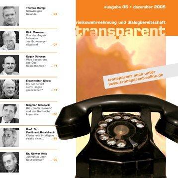 risikowahrnehmung und dialogbereitschaft ausgabe ... - transparent