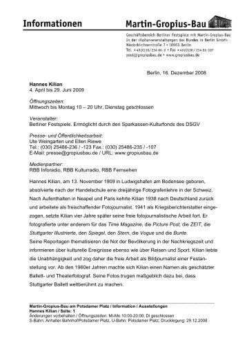 Berlin, 16. Dezember 2008 Hannes Kilian 4. April bis 29. Juni 2009 ...