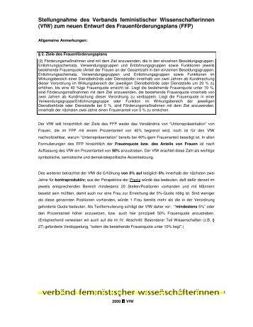 Stellungnahme zum Entwurf des Frauenförderplanes - Verband ...