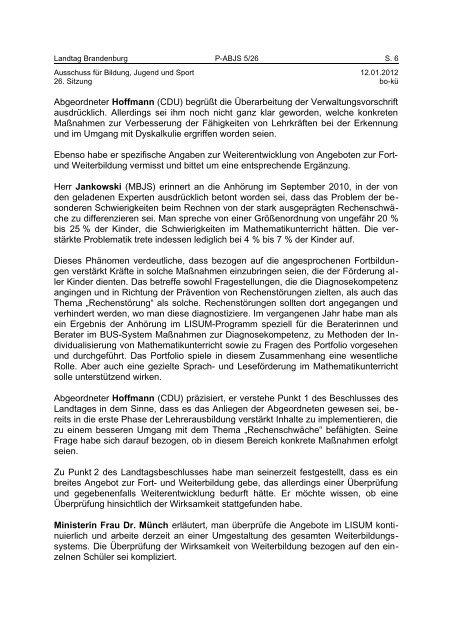 Landtag Brandenburg P-ABJS 5/26 Protokoll - Land Brandenburg