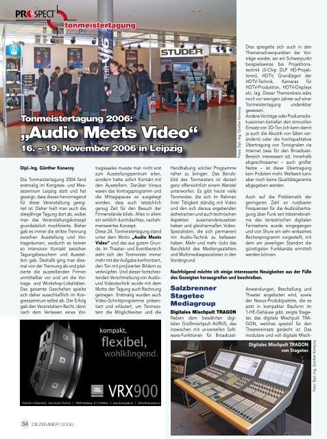 """Audio Meets Video"" Tonmeistertagung 2006"