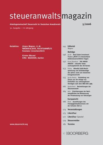 Steueranwaltsmagazin 5/2006 - Wagner-Joos Rechtsanwälte
