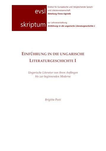 Einführung in die ungarische Literaturgeschichte I - Finno-Ugristik ...