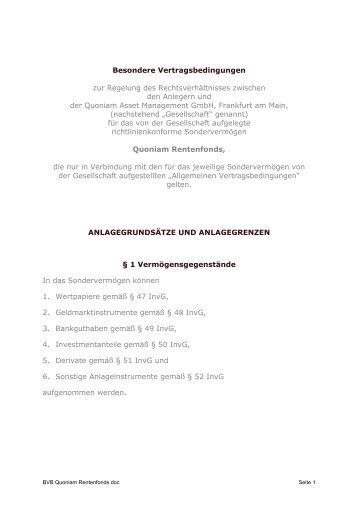 Besondere Vertragsbedingungen bis 30.06.2013 - Quoniam.de