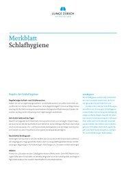 Merkblatt Schlafhygiene - Lunge Zürich