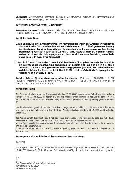 Befristeter Arbeitsvertrag Zitiergebot Amtliche Leitsätze