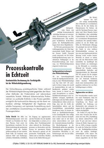 Prozesskontrolle in Echtzeit – Kontinuierliche Bestimmung der ...