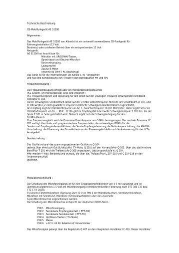 Technische Beschreibung CB-Mobilfunkgerät AE 51200 ... - Thiecom