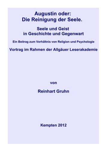 Die Reinigung der Seele - Vorträge von Reinhart Gruhn