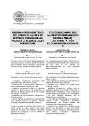 Ordinamento didattico - Libera Università di Bolzano
