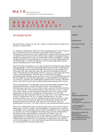 NEWSLETTER ARBEITSRECHT - MAYR Kanzlei für Arbeitsrecht