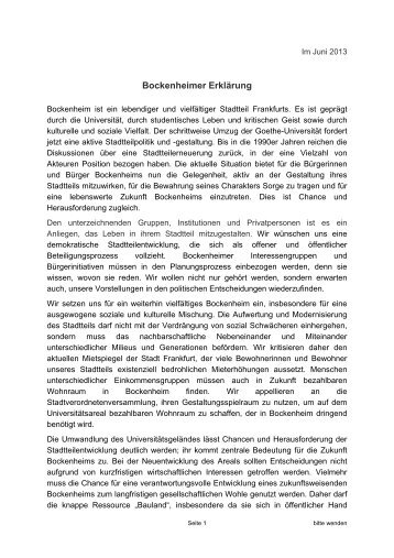 Bockenheimer Erklärung - Zukunft Bockenheim