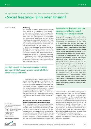 «Social freezing»: Sinn oder Unsinn? - Schweizerische Ärztezeitung