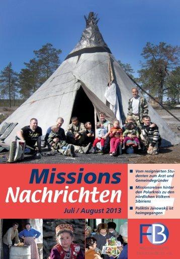 Nachrichten 2013-4 - Missionswerk FriedensBote