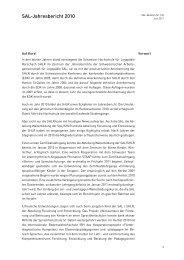 SAL-Jahresbericht 2010 - Schweizerische Arbeitsgemeinschaft für ...