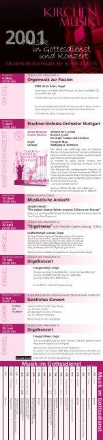 Jahresprogramm 2001 - Kirchenmusik an der Dreifaltigkeitskirche ...