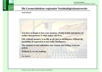 Die Lernarchitektur regionaler Nachhaltigkeitsnetzwerke
