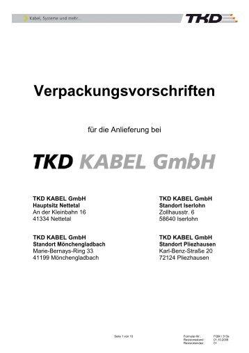 Verpackungsvorschriften als PDF anschauen - TKD KABEL GmbH