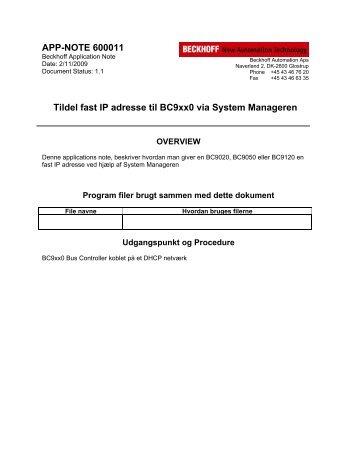 Tildel fast IP adresse til BC9xx0 via System Manageren