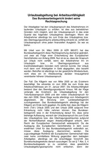 Urlaubsabgeltung bei Arbeitsunfähigkeit - Das Bundesarbeitsgericht ...