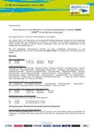 Informationen zu den Marathon- und Geherwettbewerben anlässlich ...