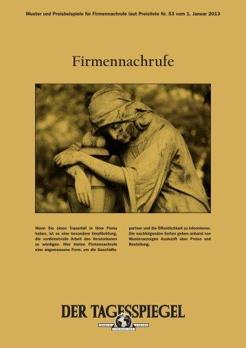 Firmennachrufe 2013 - Anzeigenpreise Der Tagesspiegel