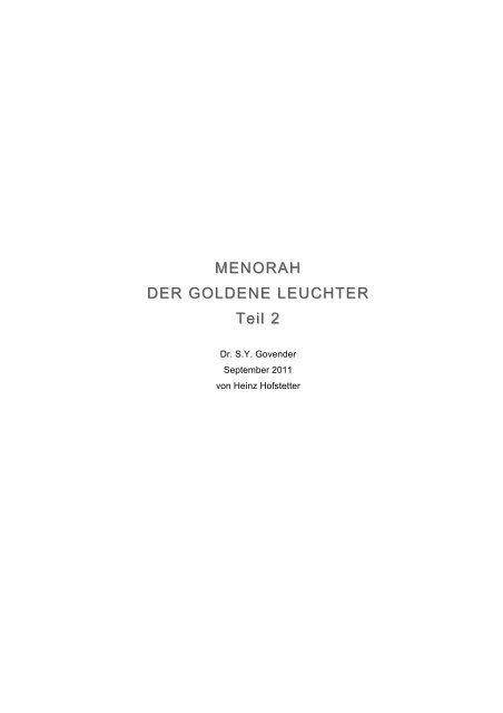 MENORAH DER GOLDENE LEUCHTER Teil 2 ... - firstfruitfamily.org
