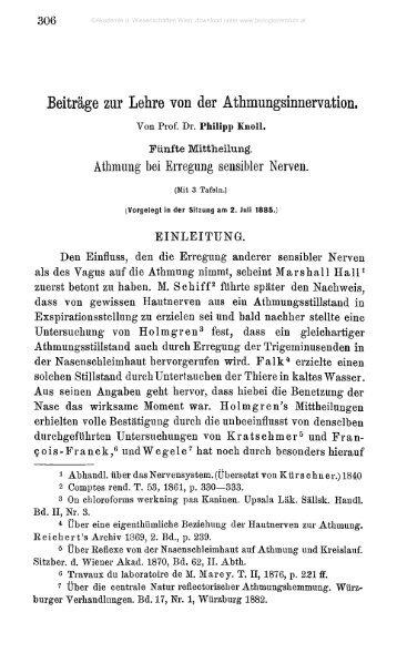 Beiträge zur Lehre von der Athmungsinnervation.