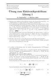 ¨Ubung zum Elektronikpraktikum Lösung 1