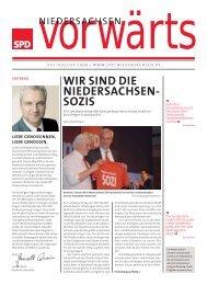 Ausgabe Juli/August 2008 des Niedersachsen-vorwärts als pdf-Datei.