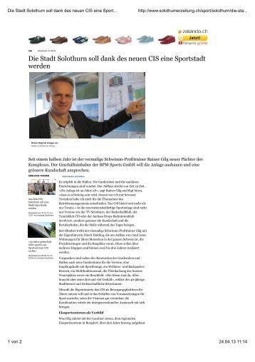 Die Stadt Solothurn soll dank des neuen CIS eine Sportstadt werden ...