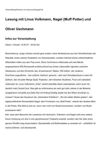 Lesung mit Linus Volkmann, Nagel (Muff Potter) und Oliver Uschmann