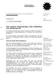 Fanbrief der Polizei Mönchengladbach