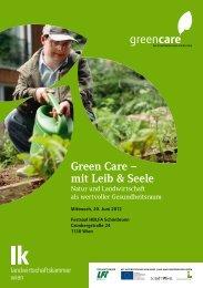 Einladung zur 1. Green Care Tagung - Hauptverband